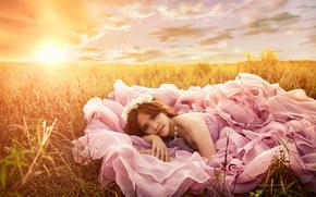 азиатка, платье, настроение, закат, луг