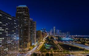 Harbor Square, Chicago, Illinois, Chicago, Illinois, vie nocturne de la ville, rue, route, bâtiment, lumières