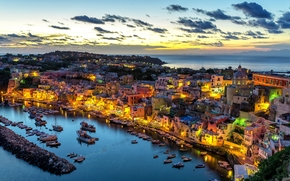 Corricella, Procida Island, Italy, Gulf of Naples, Коррицелла, остров Прочида, Италия, Неаполитанский залив, закат, гавань, порт, море, набережная, здания, панорама