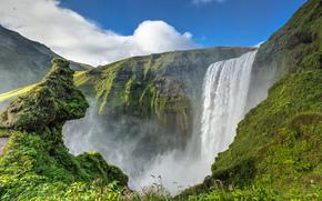 Skogafoss, islanda, Skógafoss, Islanda, cascata, FLOW, scogliere