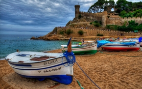 Tossa de Mar, Girona, Catalonia, Spain, Costa Brava, Vila Vella, Balearic Sea, Tossa de Mar, Girona, Catalonia, Spain, Costa Brava, Vila Vella, Balearic Sea, fortress, sea, coast, Boat, beach, sand