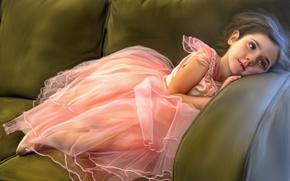отдых, диван, балерина, текстура, девочка