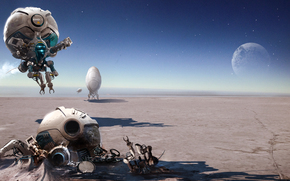 igor_sobolevsky, Imaginary landscape, drones, crash, moon, desert, Flight