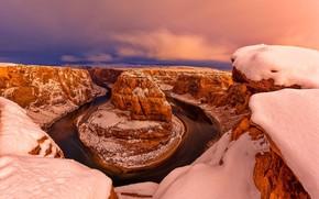 Horseshoe Bend, Fiume Colorado, Glen Canyon, Arizona, USA, tramonto, inverno