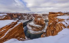 Horseshoe Bend, Fiume Colorado, Glen Canyon, Arizona, USA, inverno