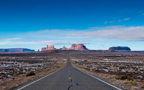 Monument Valley, road, field, Mountains, Rocks, landscape