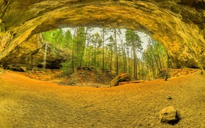 Ash Cave, Hocking Hills State Park, Ohio, waterfall, Rocks, nature