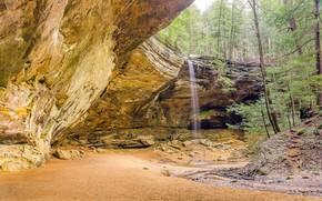 Ash Cave, Hocking Hills State Park, Ohio, waterfall, Rocks, nature