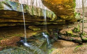 霍金山州立公园, 俄亥俄, 瀑布, 岩石, 性质