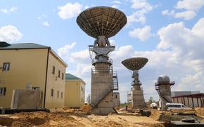 Spaceport, orientale, Baikonur strumenti di misura complesso, domestico, cielo, costruzione, sabbia, Russia, Roscosmos