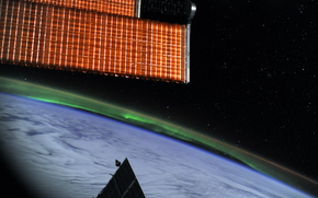 Polar Lights, ISS, land, space, Star