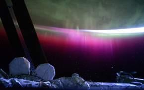 Полярное сияние над Южным океаном, МКС, космос