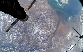 Volga river, ISS, land, space