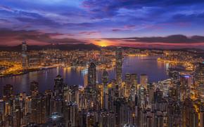 Victoria Harbour, Hong Kong, China, Victoria Bay, Hong Kong, China, city nightlife, sunset, bay, building, Skyscrapers, panorama