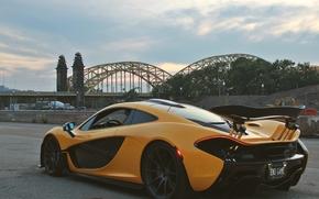 Carro esportivo, giperkar, McLaren, ponte, McLaren P1