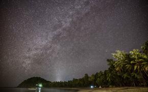 Небо, ночь, звёзды, космос, море, пляж, пальмы, Мьянма, пейзаж