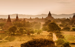 Myanmar, architecture, Mountains, sunset