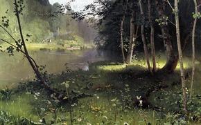 живопись, Дубовской, лесная река, картина, вода, трава, деревья, берег, бабочки, лодки, люди