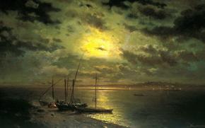 живопись, Каменев, лунная ночь на реке, картина, берег, лодки, вода, костёр, небо, облака