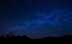Star, night, Milky Way, HORIZON, space, landscape