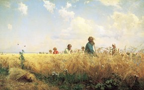 Gregory Myasoedov, The busy time to, field, men, braid, sky, landscape
