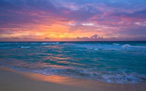 salida del sol, Cancún, México, el mar caribe