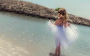 девочка, юбка, море, настроение