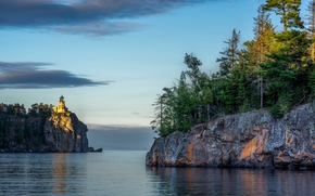 Lake Superior, Great Lakes, Minnesota, Split Rock Lighthouse, Lake Superior, Great Lakes, Minnesota, lake, Rocks, lighthouse, trees