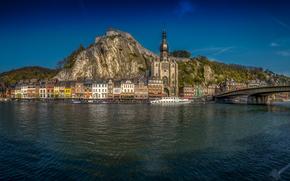 B?lgica, Rio Meuse, Namur, Dinan, Dinant, rio, ponte, navio-motor, constru??o, aterro, panorama
