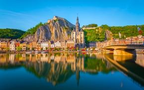 Dinant, Namur, Belgium, River Meuse, Динан, Намюр, Бельгия, река Маас, река, мост, церковь, здания, набережная, отражение
