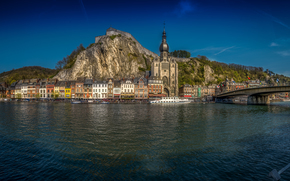 bridge, Church, River Meuse, Dinant, Namur, Wallonia, Belgium, panorama