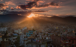Катманду, Непал, город, дома, горы, вечер, небо, закат