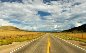 Parque Nacional de las Montañas Rocosas, carretera, cielo, campo, paisaje