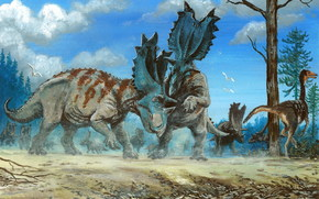 Aguhatseratops, dinosaurs, Ancient animals, painting