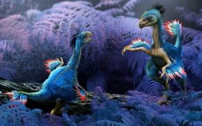 Animali antico, dinosauri, piante, felce