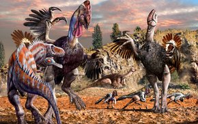 Animali antico, dinosauri, Gigantoraptor, alektrozavr