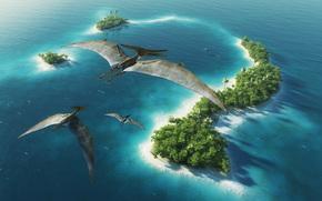 Animali antico, dinosauri, Pteranodon, isola, alberi