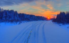 Зима, мороз, север, снег, деревья, лес, тайга, дорога, природа, закат, река, Бажгалы, Кировская область, Россия, пейзаж