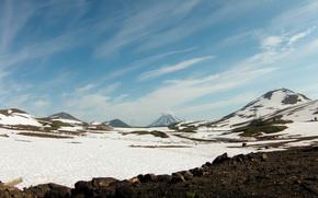Mountains, volcano, nature, landscape, Kamchatka, Russia, travel, August, snow, sky, zenith