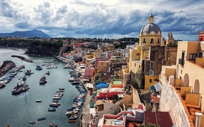 Corricella, Procida Island, Italy, Gulf of Naples, Korritsella, Procida Island, Italy, Bay of Naples, harbor, port, Boat, bay, embankment, building