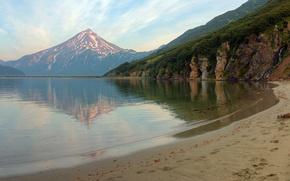 Mountains, nature, beach, sand, landscape, Kamchatka, Russia, travel