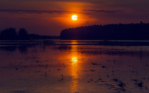 Big Mountain, Kirov region, Russia, river, Vyatka, sun, evening, sunset, reflection, water, light, TRACK, SPRING, May, forest