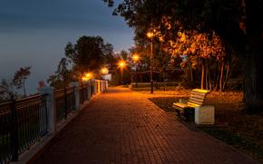 Kirov, Russia, terrapieno, Lungomare, mattinata, notte, crepuscolo, DAWN, Tour, TRACK, parco, panca, città, luci, alberi