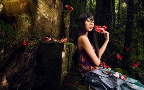 девушка, азиатка, бабочки, маска, лес, настроение