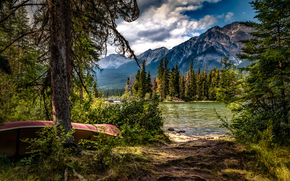 Pyramid Lake, Jasper National Park, Alberta, Canada, Pyramid Lake, Jasper National Park, Alberta, Canada, lake, Mountains, trees, boat
