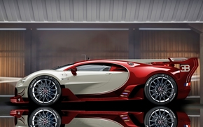 Bugatti Veyron EB 16.4, Bugatti Veyron, Bugatti, Veyron, sports car, гиперкар, отражение