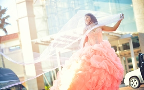girl, bride, Wedding Dress, veil, dress, mood