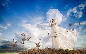 девушка, платье, зонтик, ветер, листья, настроение