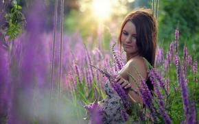 女孩, 花卉, SWING, 心情