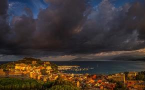 storm cloud, Costa, Sestri Levante, Baia del Silenzio, Liguria, Riviera Italiana, Italia, panoramica